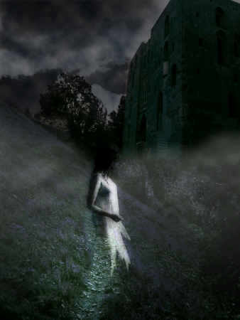 Mysterious castle with a ghost at night in the fog Imagens