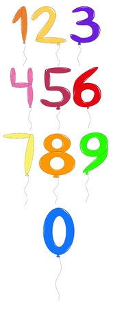 numbers from zero to nine in the form of multi-colored balloons Illustration