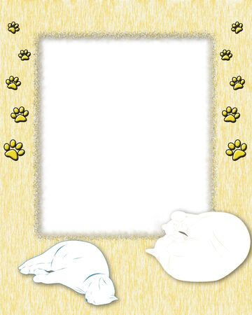 Yellow frame with texture, with two cats and cat footprints