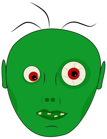Cartoon head of a green zombie, illustration Vector