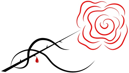 Red rose on a black stem with a drop of blood Illustration