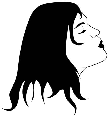 portrait of a woman waiting for a kiss Vector