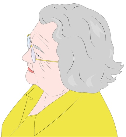 Portrait of an elderly woman in glasses Illustration