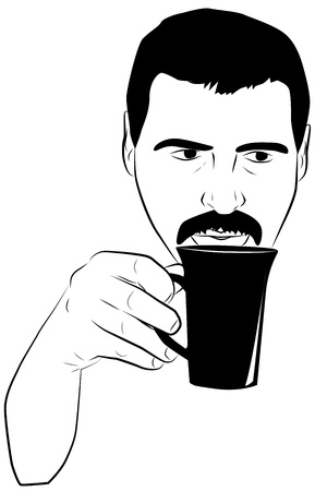Portrait of a man with a cup in hand Vector