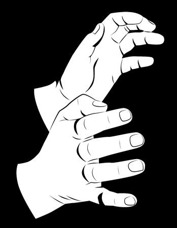 파악: 두 손을 잡고, 흑인과 백인 벡터 일러스트 레이 션