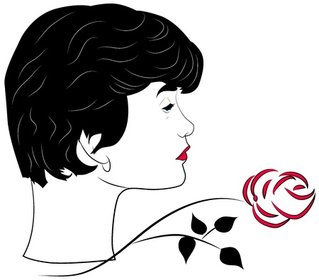 fatale: Portrait of a femme fatale with an abstract rose