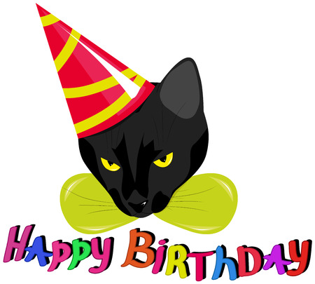 catroon: a black cat in a celebratory cap with the words Happy Birthday