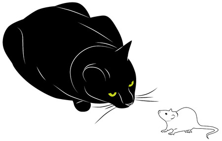 big black cat watching a frightened mouse Illustration
