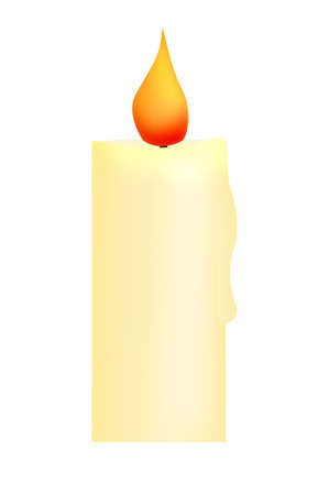 lighted: A lighted yellow wax candle, a simple illustration
