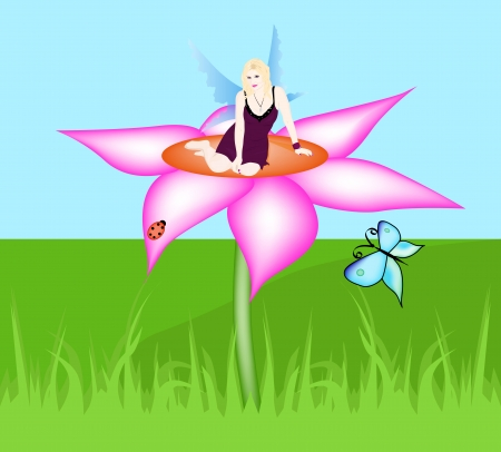 A beautiful fairy sitting on a flower Vector