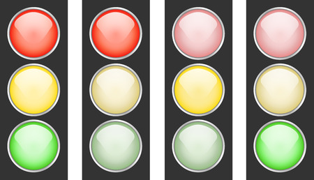 switched: A set of traffic lights with different signals switched Illustration