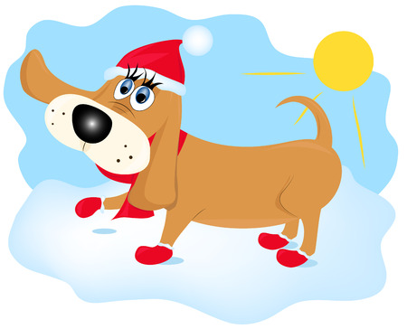 Cartoon dog out for a walk in winter Vector