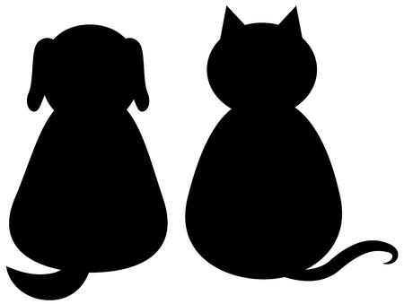 silueta de gato: negro silueta de un gato y un perro