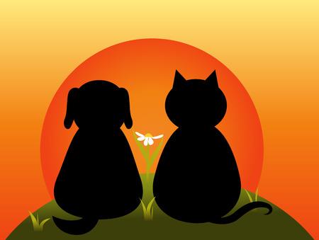 illustrazione sole: Gatto e cane seduti insieme sulla collina e guardare il tramonto