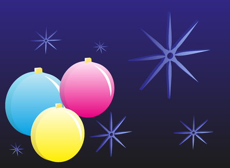 Dark blue background with Christmas balls and snowflakes