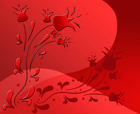 Beautiful red abstract background with floral design