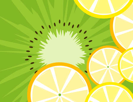 Bright fruit background with slices of orange, lemon and kiwi