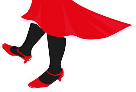 piernas de mujer: bailando piernas femeninas en medias negras y falda roja Vectores