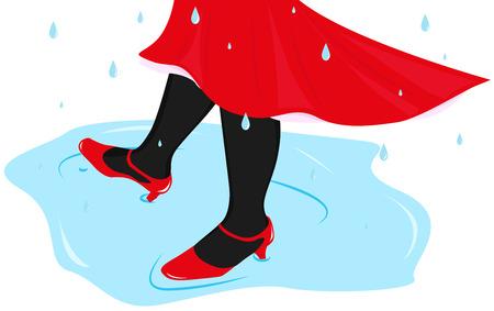 piernas de mujer: piernas femeninas bailando en un charco en la lluvia Vectores
