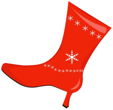 botas de navidad: Mujeres botas rojas de Navidad con tacones
