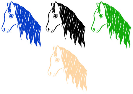 Set of horses of different colors
