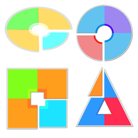 modern colorful icons in different shapes