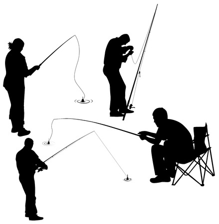 set of silhouettes of fishermen. vector illustration Ilustração