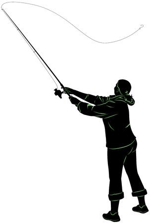 Silhouette d'une femme jetant une canne à pêche
