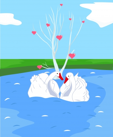 White tree with hearts and two swans in love Stock Vector - 25252095