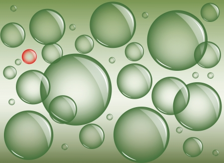 marsh: Green background with transparent bubbles of different sizes and one of a different color bubble