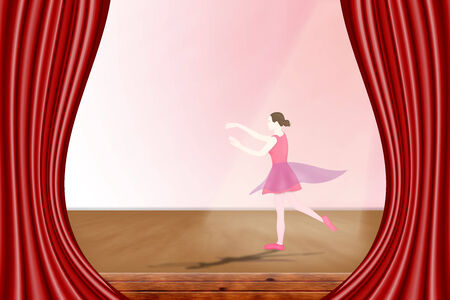 Little ballerina in a pink dress dancing on stage