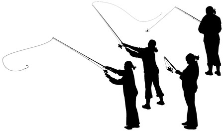 angling rod: set of silhouettes of women with a fishing rod