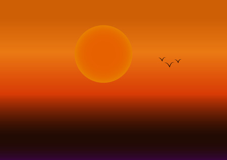 orange sunset: Beautiful orange sunset with a large sun and a flock of birds
