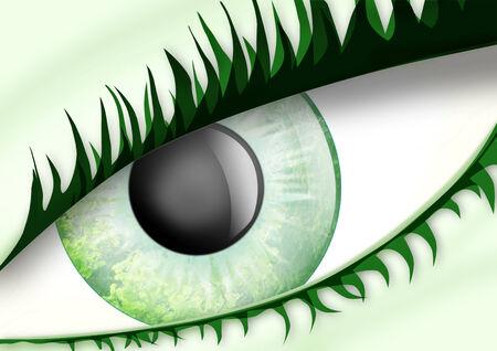 eye green: ojo verde inusual del esp�ritu del bosque, con las hojas en los �rboles en el iris Foto de archivo