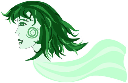 fluttering: Unusual green female face with scarf fluttering