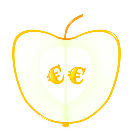 sectional: Golden Apple sectional with seeds - euror signs Stock Photo