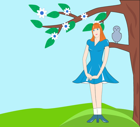 modest: Modest girl in blue dress standing under a blossoming tree