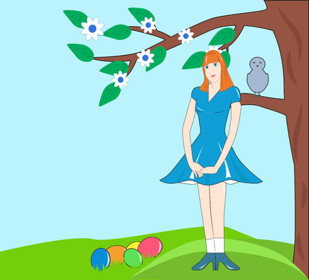 modest: modest girl in a blue dress under a tree with Easter eggs Illustration