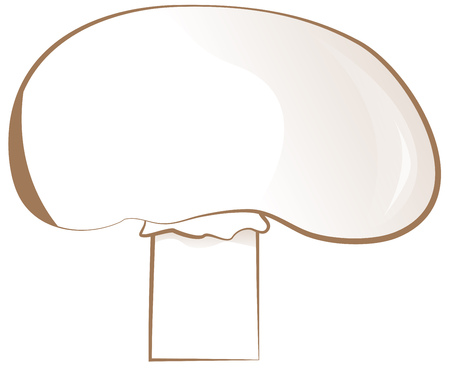 champignon: drawn one mushroom - champignon simple illustration