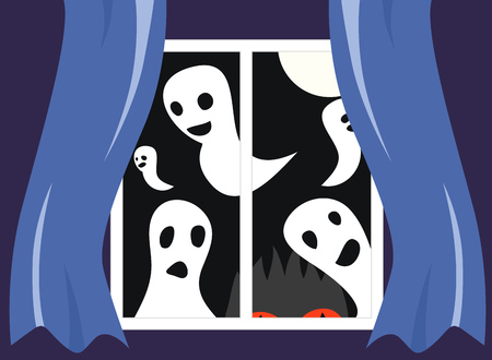 phantom: view from the window. Full moon, many ghosts and monster Illustration