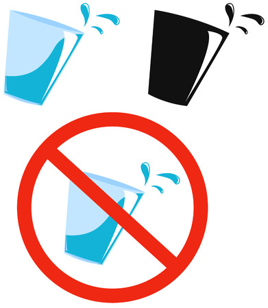 abstention: Set of pictures, sign prohibiting drink and glass with alcohol Illustration