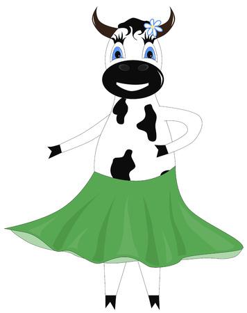 Cartoon funny dancing cow in a green skirt Vector
