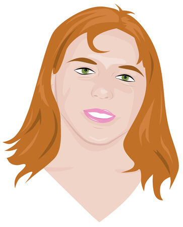 plump lips: portrait of a young pretty girl with red hair and green eyes