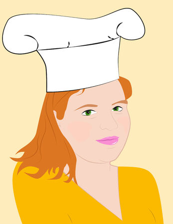 Portrait of a plump girl in a chefs hat