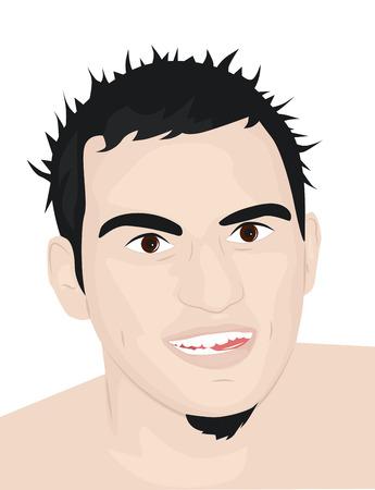 zerzaust: Portrait eines jungen Kerl mit zerzausten Haaren und heraush�ngender Zunge Illustration
