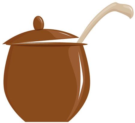 ollas de barro: olla con tapa abierta y la cuchara, ilustración vectorial