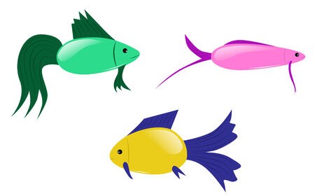 Three cartoon colorful tropical fish, vector illustration Vector