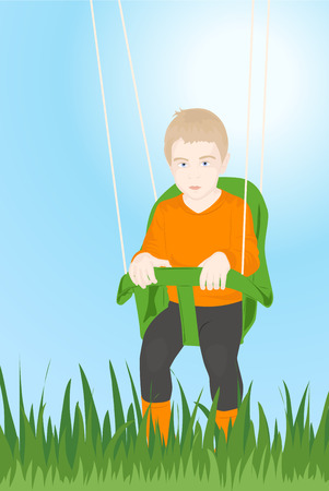 cute little boy sitting on a swing Vector