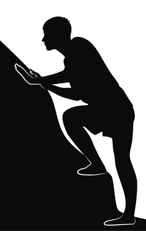ascend: Black silhouette of guy climbs up, vector illustration Illustration