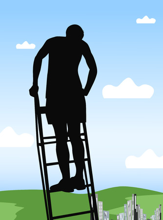 down town: The guy at the top of the ladder, high above the ground Illustration